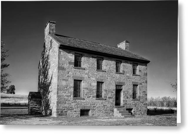 Black And White Hdr Greeting Cards - Stone House Tavern - Manassas Virginia Greeting Card by Mountain Dreams