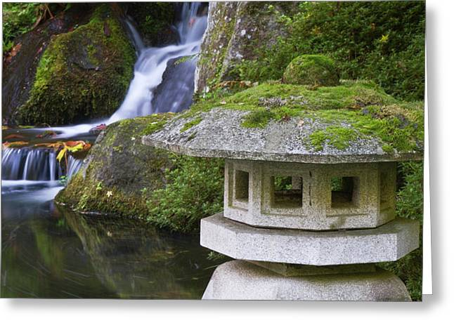 Stone Lantern And Heavenly Falls Greeting Card by William Sutton