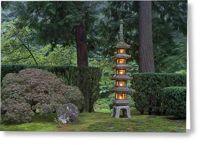 Stone Lantern Illuminated With Candles Greeting Card by William Sutton
