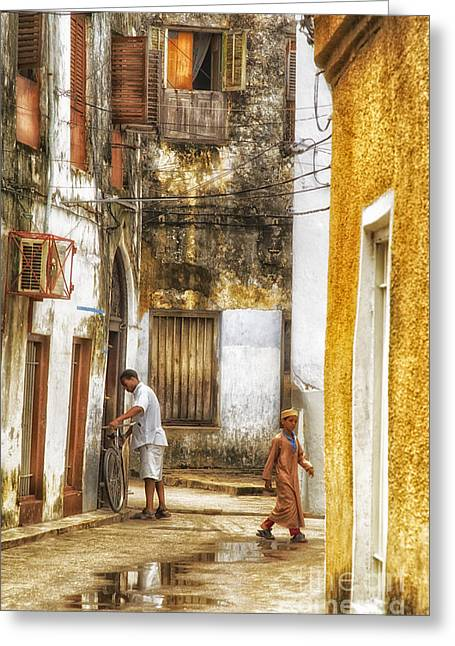Teen Town Greeting Cards - Life in Historic Stone Town Alley in Zanzibar Island Greeting Card by Nasser Studios