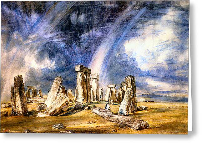 Constable Greeting Cards - Stonehenge  Greeting Card by John Constable