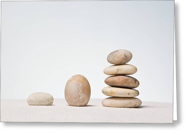 Zen Rock Stacking Greeting Cards - Stones stacked. Greeting Card by Suphakit Wongsanit