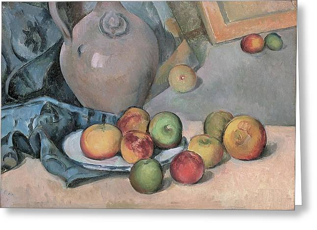 Stoneware Paintings Greeting Cards - Stoneware Pitcher Greeting Card by Paul Cezanne