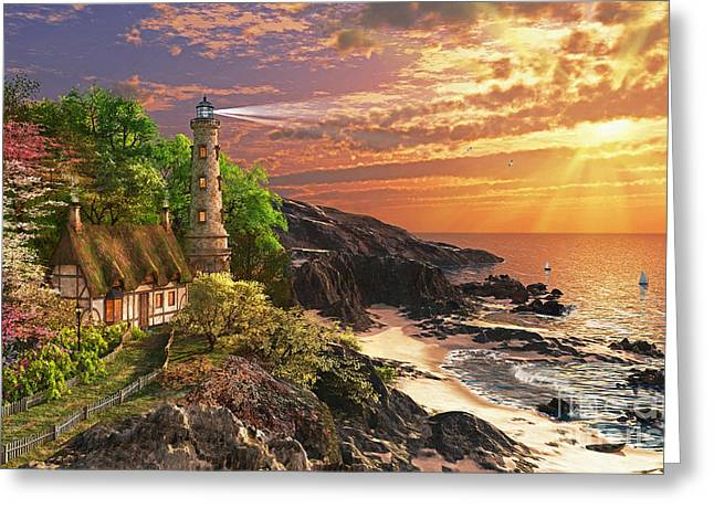 Seaside Digital Art Greeting Cards - Stoney Cove Greeting Card by Dominic Davison