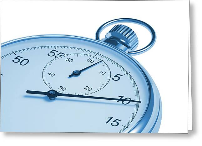 Stopwatch On White Background Greeting Card by David Parker