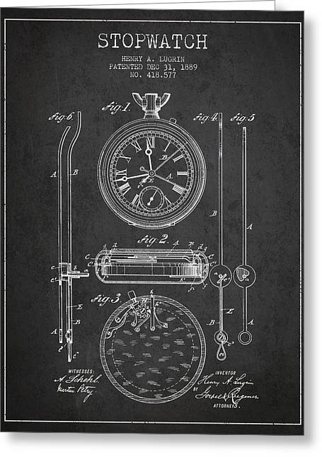 Alarm Clock Greeting Cards - Stopwatch Patent Drawing From 1889 Greeting Card by Aged Pixel