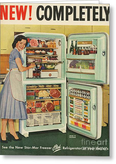 Vintage Greeting Cards - Stor-mor  1950s Uk Fridges Freezers Greeting Card by The Advertising Archives