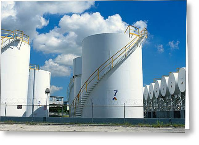 Fossil Fuel Greeting Cards - Storage Tanks In A Factory, Miami Greeting Card by Panoramic Images