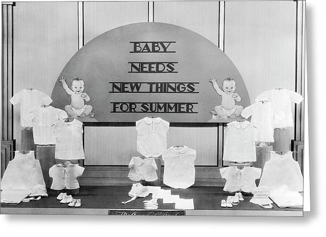 Store Window Fashion Display Greeting Card by Underwood Archives