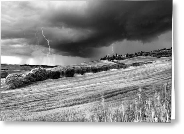 Tuscan Hills Greeting Cards - Storm approcing the tuscan countryside Greeting Card by Yuri Santin