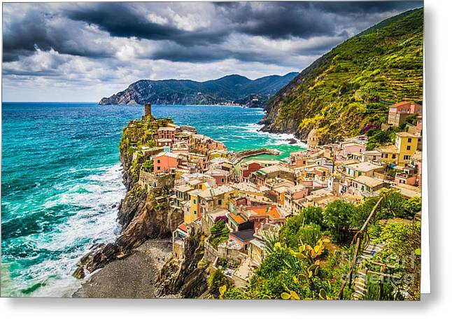 Monterosso Greeting Cards - Storm over Cinque Terre Greeting Card by JR Photography