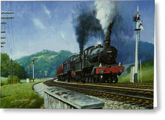 Steam Locomotive Greeting Cards - Storming Dainton Greeting Card by Mike  Jeffries