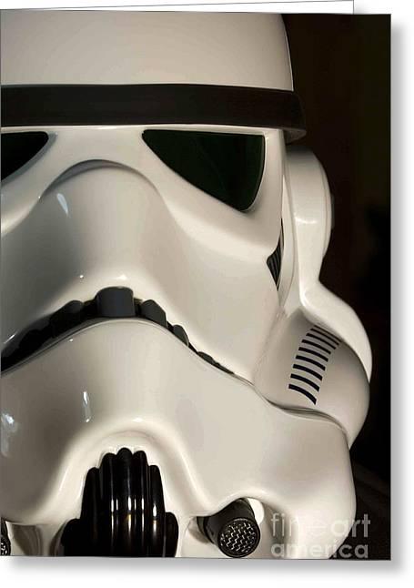 Stormtrooper Helmet Greeting Card by Micah May
