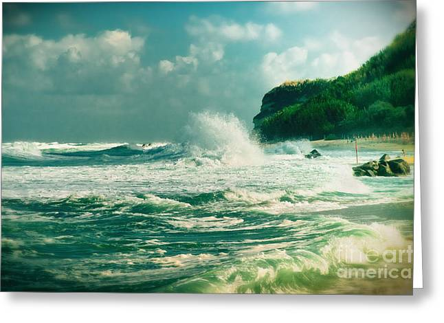 Silvia Ganora Greeting Cards - Stormy sea Greeting Card by Silvia Ganora