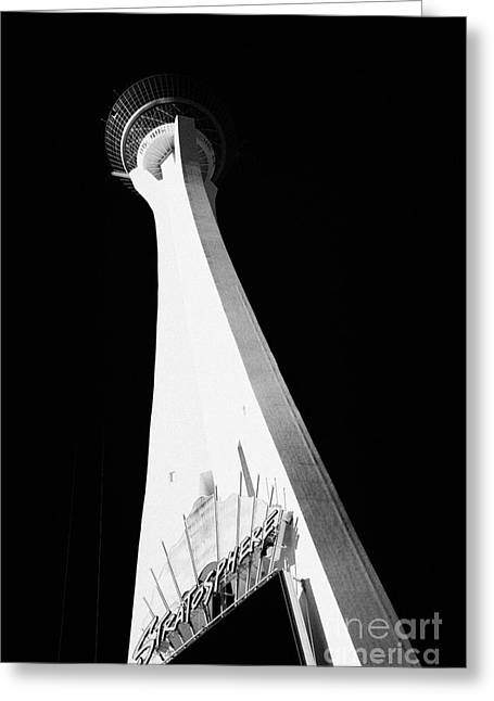 Stratosphere Greeting Cards - stratosphere hotel tower and casino Las Vegas Nevada USA Greeting Card by Joe Fox