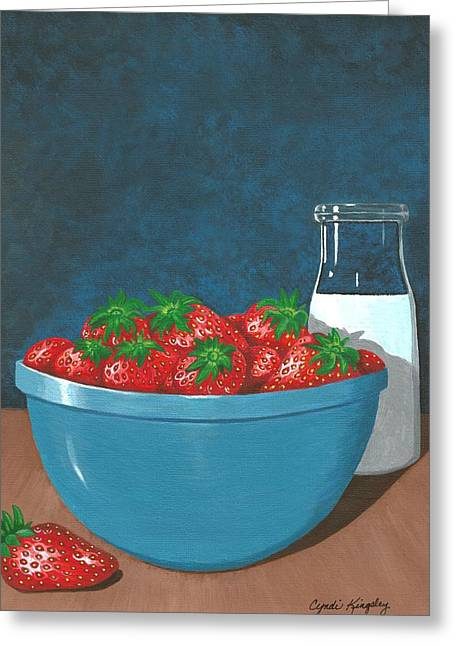 Cyndi Kingsley Greeting Cards - Strawberries and Cream Greeting Card by Cyndi Kingsley