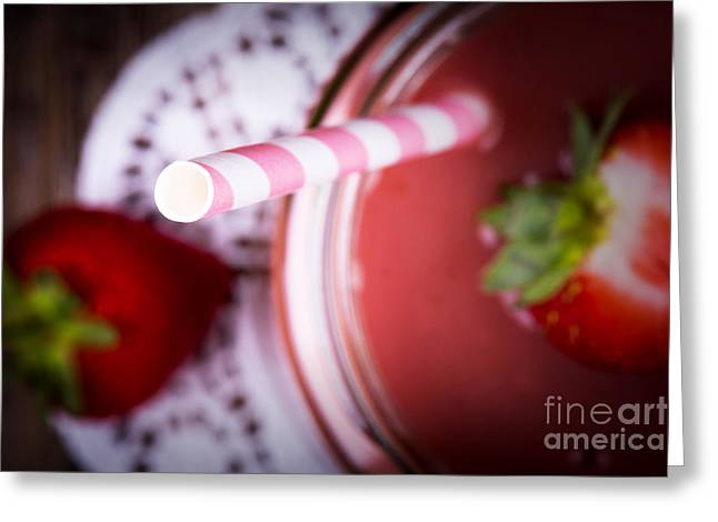 Doily Greeting Cards - Strawberry smoothie Greeting Card by Jane Rix