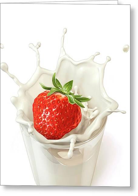 Strawberry Splashing Into Milk Greeting Card by Leonello Calvetti