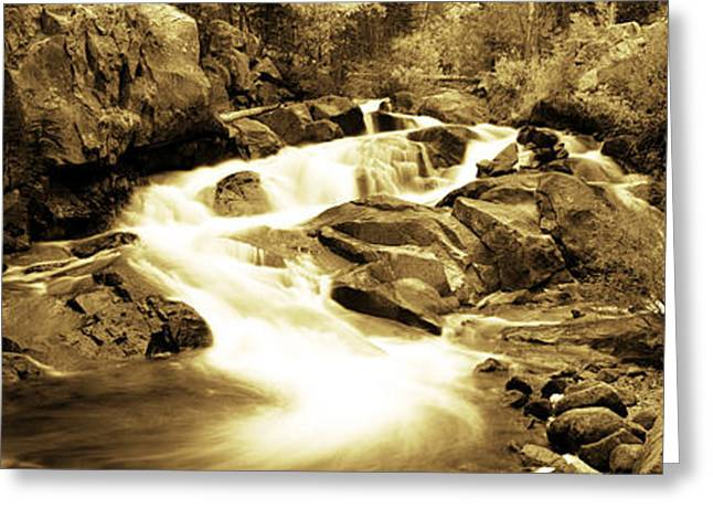 Water Flowing Greeting Cards - Stream Flowing Through Rocks, Lee Greeting Card by Panoramic Images