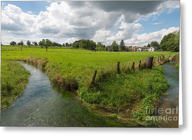 Limburg Greeting Cards - Stream through a sunny landscape in summer Greeting Card by Jan Marijs