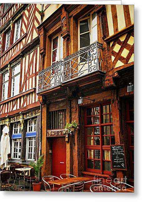 Medieval Style Greeting Cards - Street in Rennes Greeting Card by Elena Elisseeva