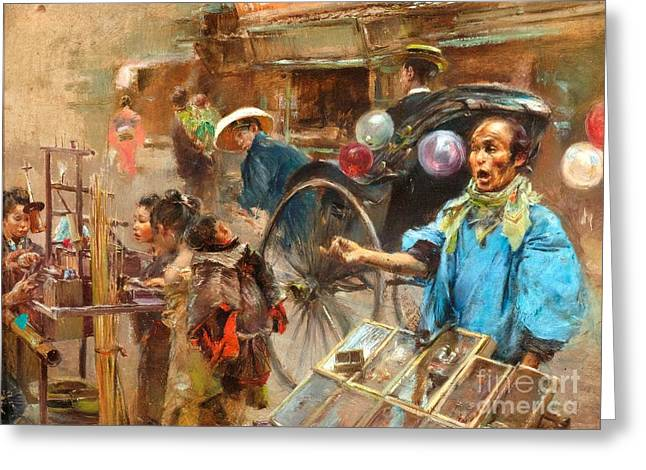 Asian Market Greeting Cards - Street Market Greeting Card by Pg Reproductions