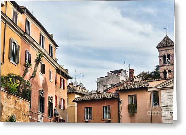 Trastevere Greeting Cards - Street scene from Trastevere district of Rome Greeting Card by Frank Bach
