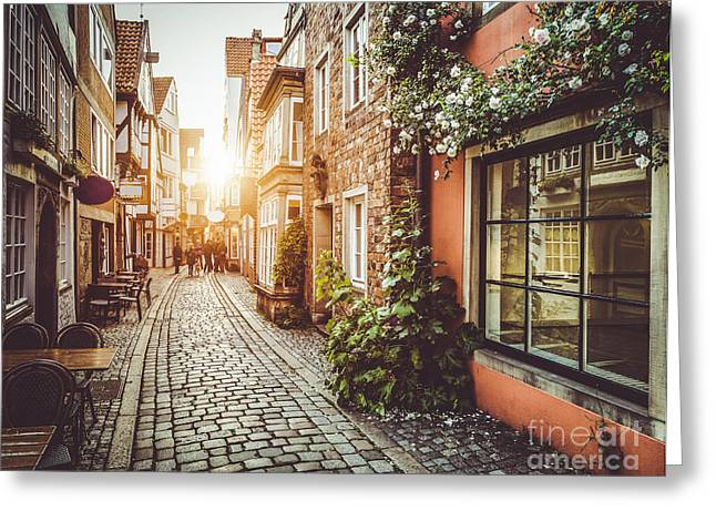 Cafe City Lights Greeting Cards - Streets of Europe Greeting Card by JR Photography