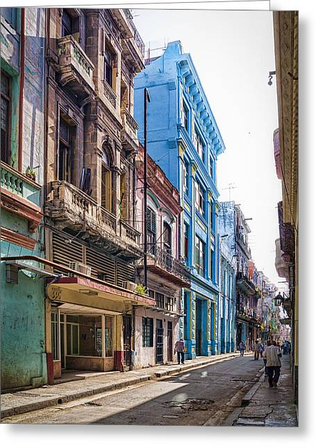 Aged Greeting Cards - Streets of Havana Greeting Card by Erik Brede