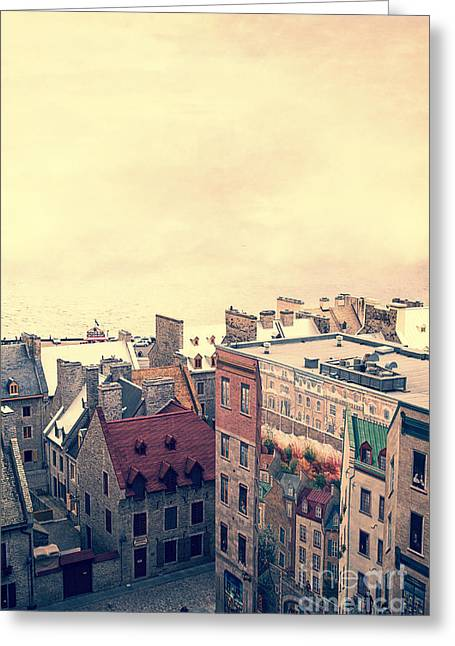 Buildings Greeting Cards - Streets of Old Quebec City Greeting Card by Edward Fielding