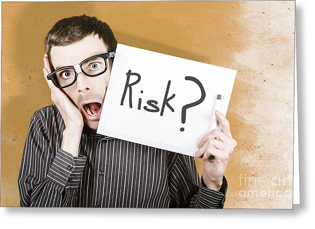 Stressed Office Worker Holding Risk White Board  Greeting Card by Jorgo Photography - Wall Art Gallery