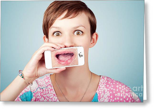 Cellphone Greeting Cards - Stressed woman with smashed smartphone screen Greeting Card by Ryan Jorgensen