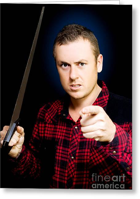 Plaid Shirt Greeting Cards - Stressed workman pointing the finger at you Greeting Card by Ryan Jorgensen
