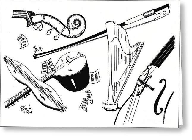 Quartet Drawings Greeting Cards - Strings Greeting Card by Andooga Design