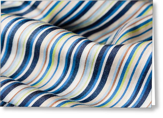 Apparel Greeting Cards - Striped material Greeting Card by Tom Gowanlock