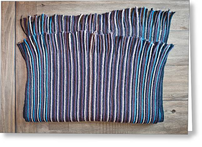 Striped Scarf Greeting Cards - Striped scarf Greeting Card by Tom Gowanlock
