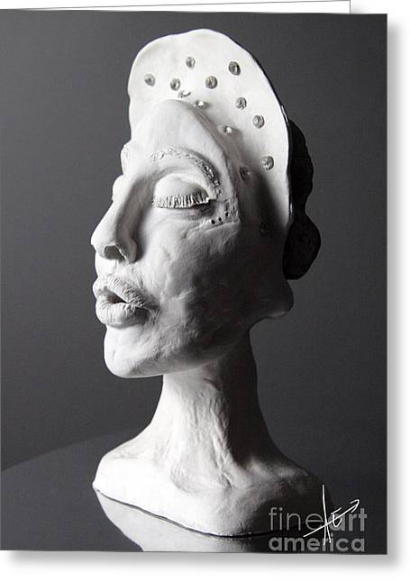 Clay Sculptures Greeting Cards - Striving Greeting Card by Afrodita Ellerman