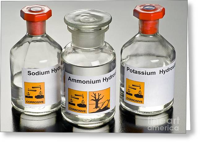 Plastic Solution Greeting Cards - Strong Alkalis In Laboratory Bottles Greeting Card by Martyn F. Chillmaid