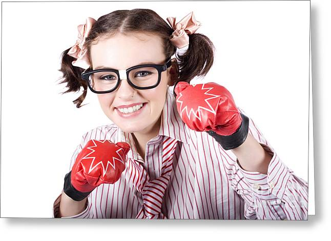 Clever Greeting Cards - Strong Driven Business Woman Wearing Boxing Gloves Greeting Card by Ryan Jorgensen
