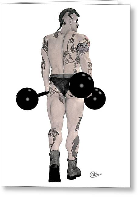 Tightrope Greeting Cards - Strongest Man tattooed By Quim Abella Greeting Card by Joaquin Abella