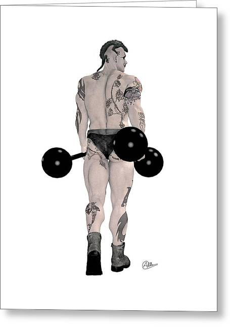 Buy Goods Greeting Cards - Strongest Man tattooed Greeting Card by Quim Abella