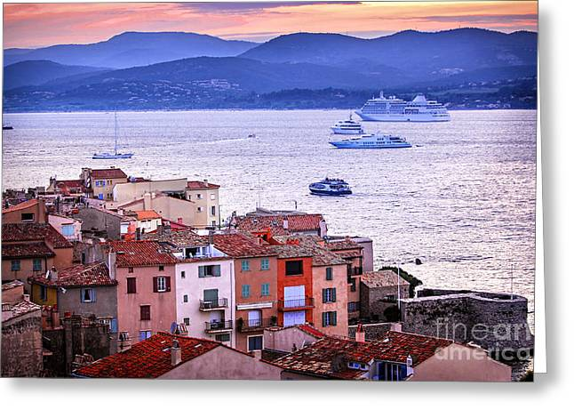 Southern France Greeting Cards - St.Tropez at sunset Greeting Card by Elena Elisseeva