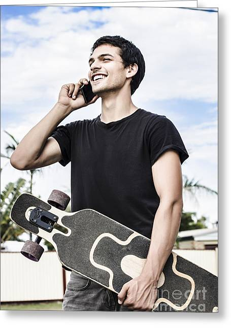 Youth Sports Greeting Cards - Student talking to a friend on mobile smartphone Greeting Card by Ryan Jorgensen