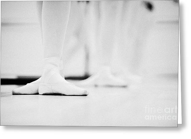 Ballet Dancers Photographs Greeting Cards - Students With Feet In The Third Position At A Ballet School In The Uk Greeting Card by Joe Fox