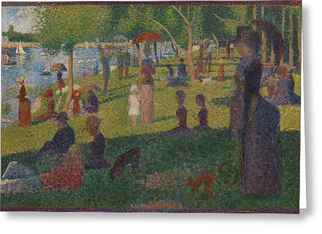 La Grande Jatte Greeting Cards - Study for A Sunday on La Grande Jatte Greeting Card by Georges Seurat