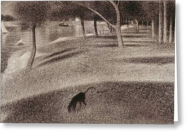 Jatte Pastels Greeting Cards - Study for Sunday Afternoon on the Island of La Grande Jatte Greeting Card by Georges Pierre Seurat