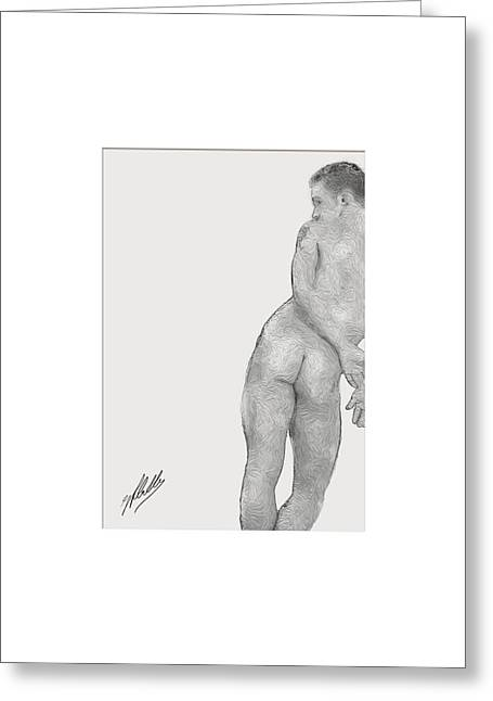Stud Drawings Greeting Cards - Study of anatomy By Quim Abella Greeting Card by Joaquin Abella