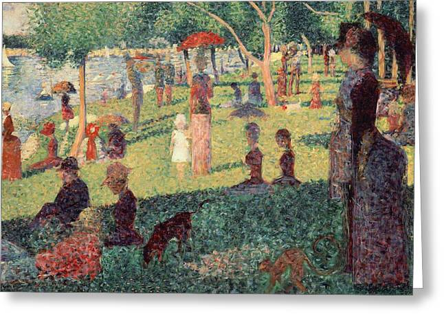 Georges Pierre Greeting Cards - Study on La Grande Jatte Greeting Card by Georges Seurat