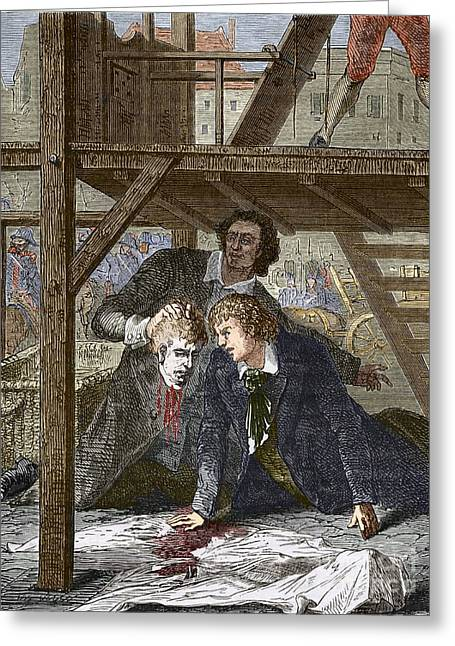 Humane Greeting Cards - Studying A Guillotined Head, Mainz 1803 Greeting Card by Sheila Terry