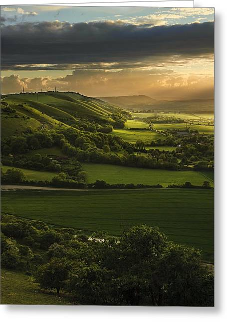 Colorful Cloud Formations Greeting Cards - Stunning Summer sunset over countryside escarpment landscape Greeting Card by Matthew Gibson
